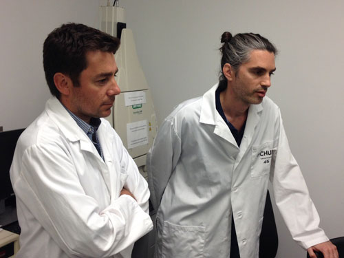 Drs. Nicolas Chomont (left) and Remi Fromentin in the Chomont lab at the University of Montreal