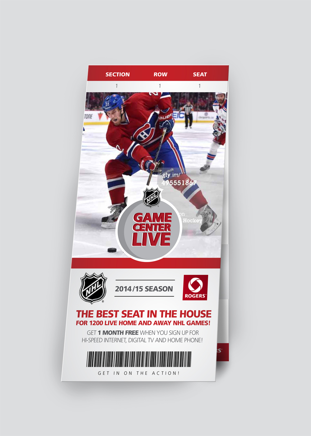 'Hockey Ticket' Concept Cover, card-fold