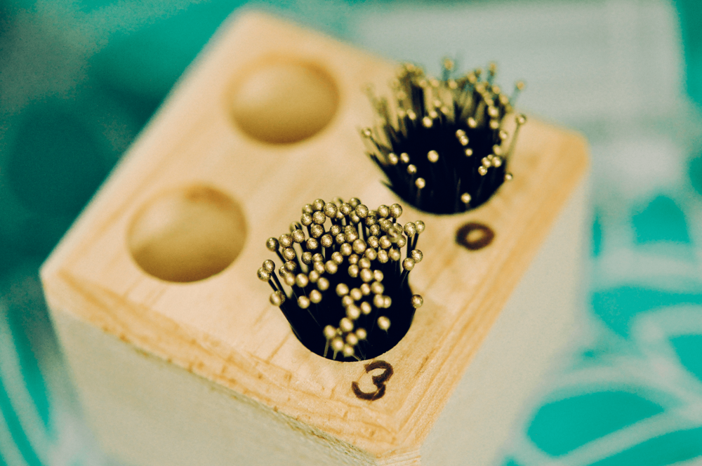 Studio detail – Pins! Crystal's assemblage essentials!