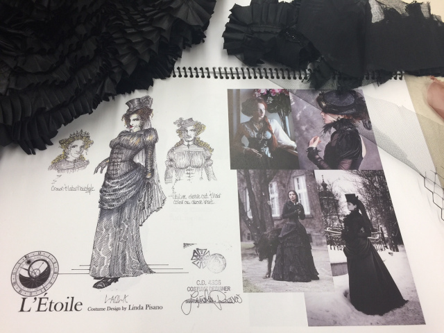 Page from the costume design book. Each page includes a costume rendering, working drawing, inspirational research and fabric swatches from which the costumes will be constructed.