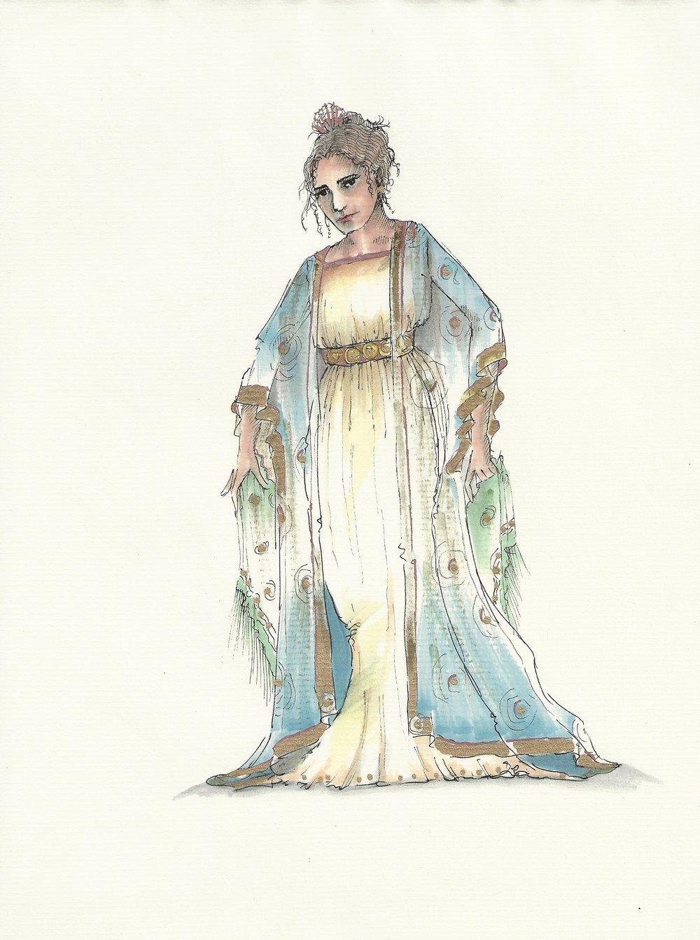 Linda Pisano - costume rendering for Giulio Cesare