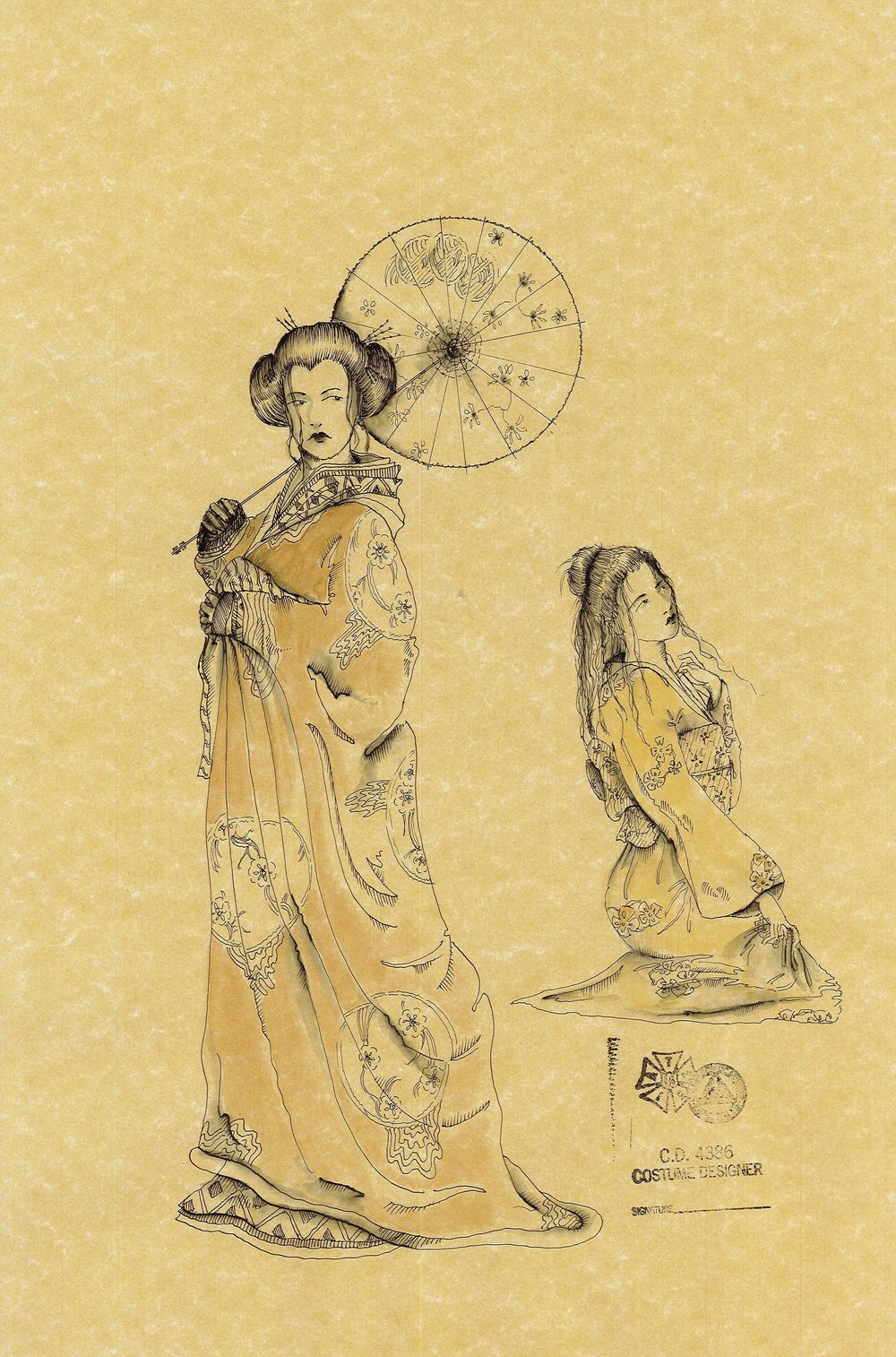 COSTUME RENDERING by Linda Pisano for Madama Butterfly with director Leslie Koenig.