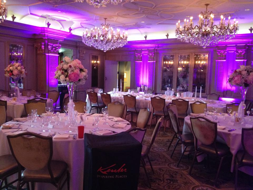 Pink uplighting in the ballroom of the Grand Bohemian Hotel in Asheville