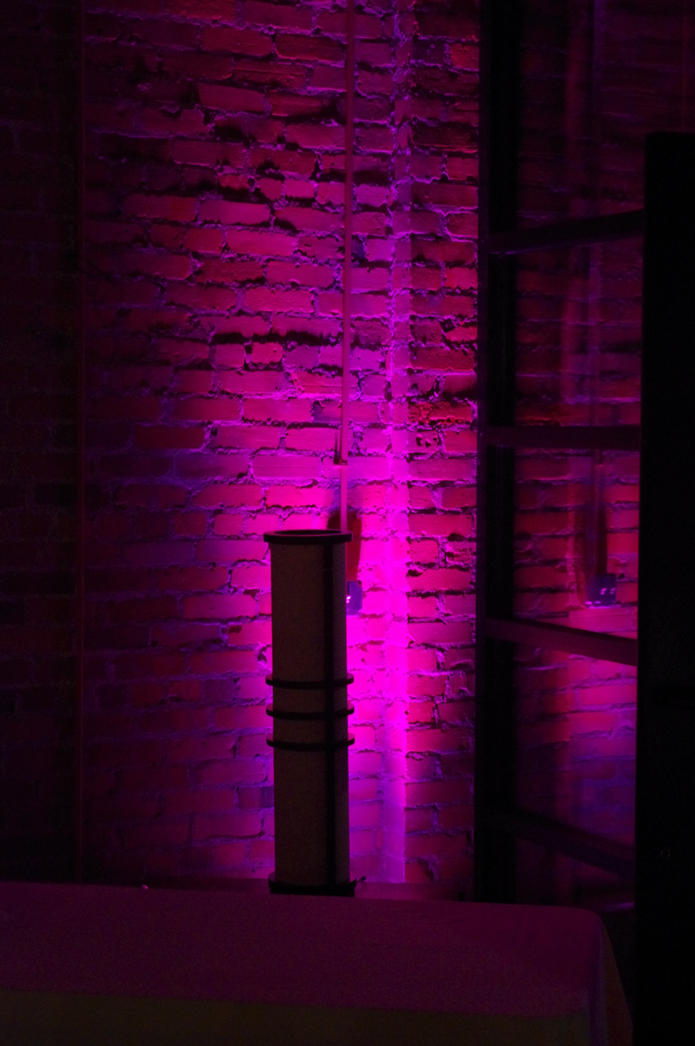Pink uplighting at The Venue in Asheville