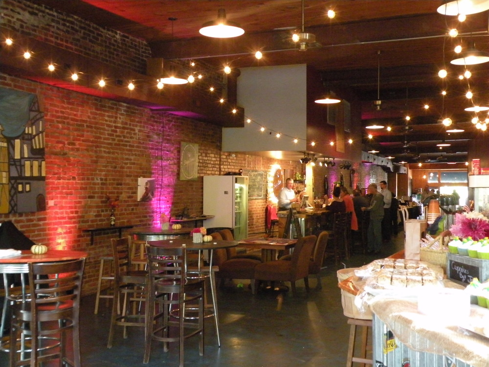 Uplighting and Cafe Lights at Frog Level Brewing