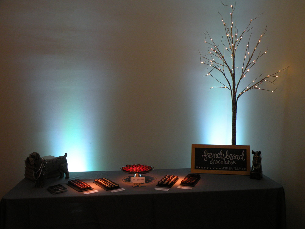 Truffle Bar with blue uplighting and pinspots
