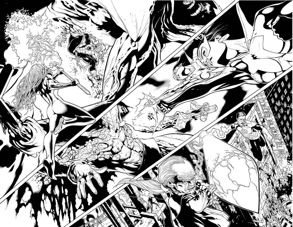 Green Lantern #50, pages 16-17.  Pencils: Doug Mahnke Inks: Tom Nguyen