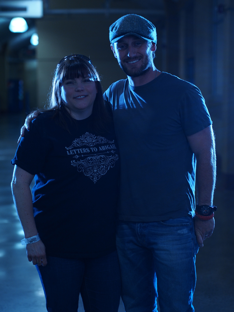 Fan with actor Josh Stewart, but oops!  The main light wasn't turned on in this test shot.