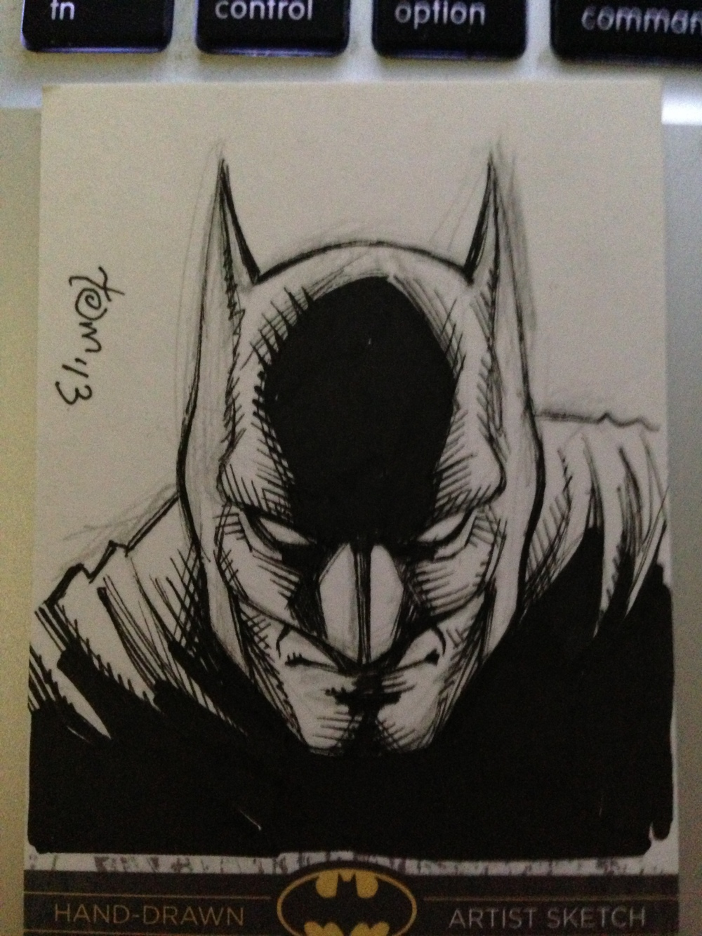 Batman head card sketch for a James, winner of one of my MANY Art Samurai workshop contests.