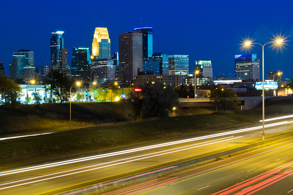 Downtown Minneapolis just after the sun sets.   Lens: Olympus 45mm/1.8
