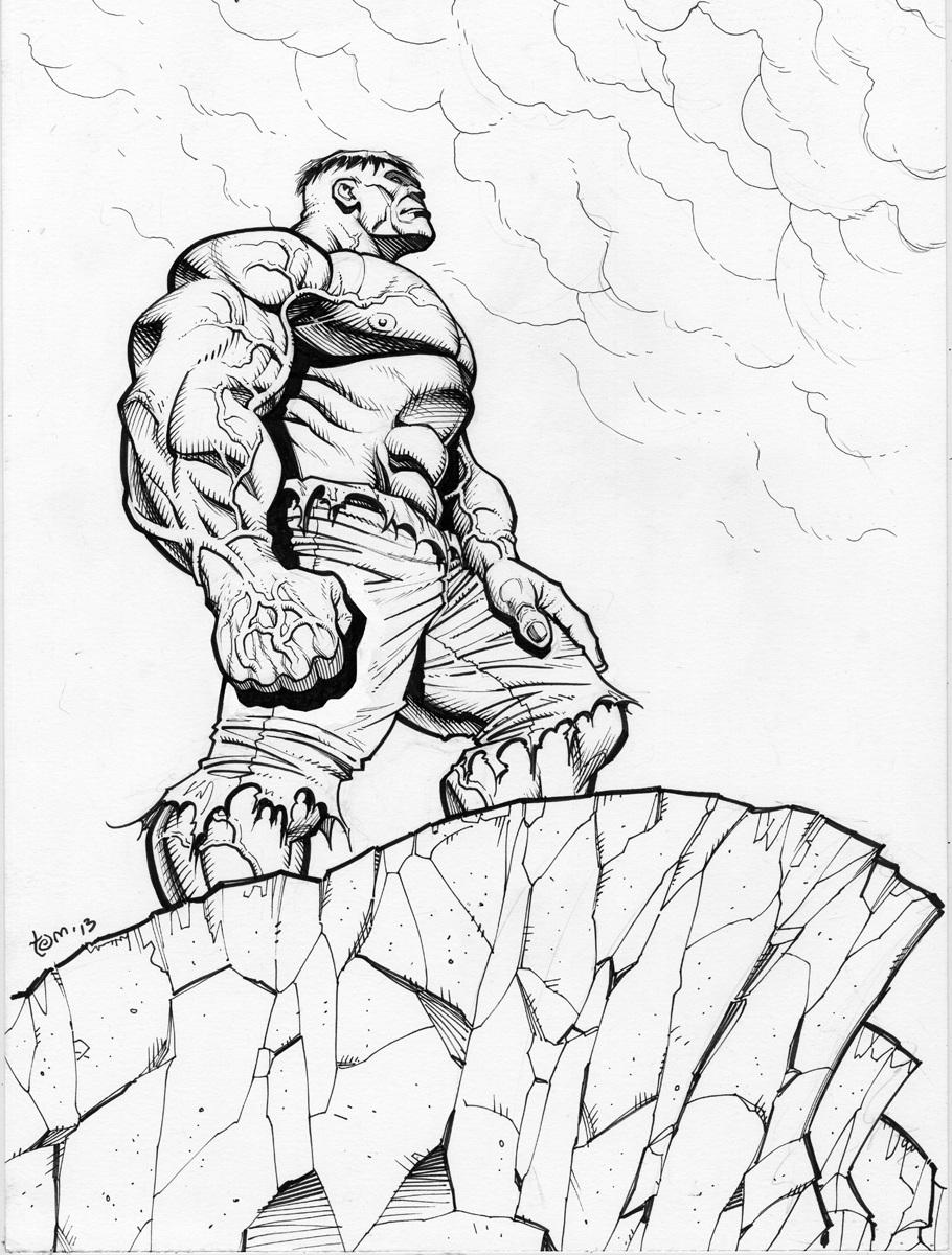 Hulk, 11 X 17 inches on bristol board.