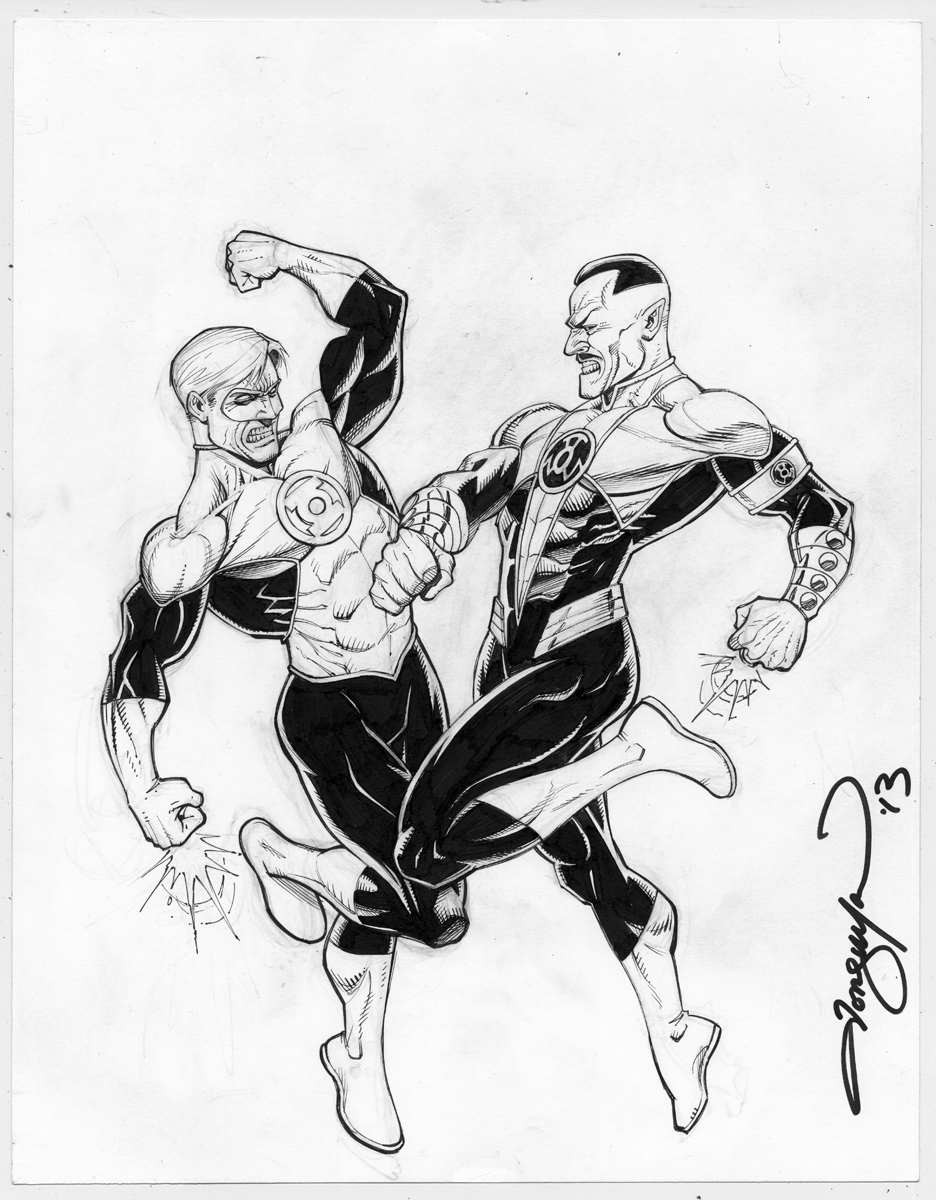 Hal Jordan vs. Sinestro, 9 X 12 inches on bristol board.
