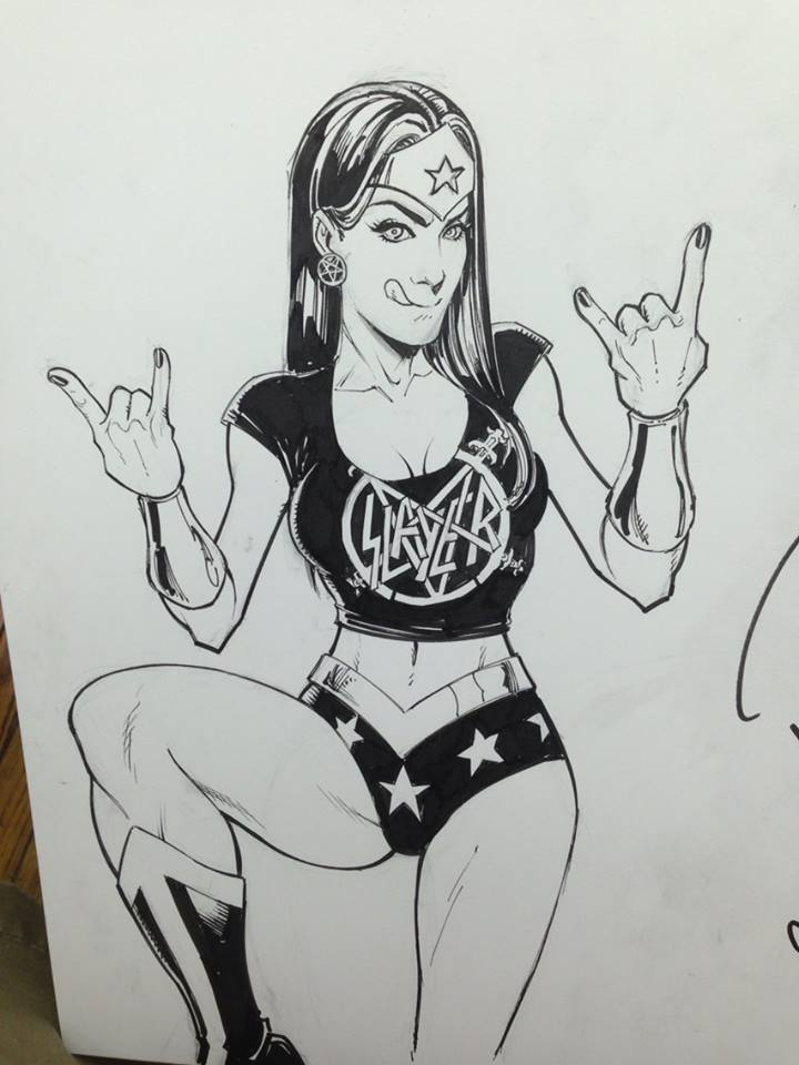 Wonder Woman in Slayer garb...fuck yeah!