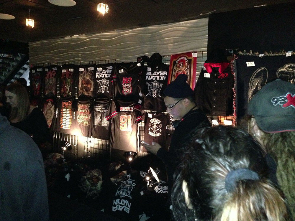 The merchandise area at the Myth nightclub in Minneapolis.