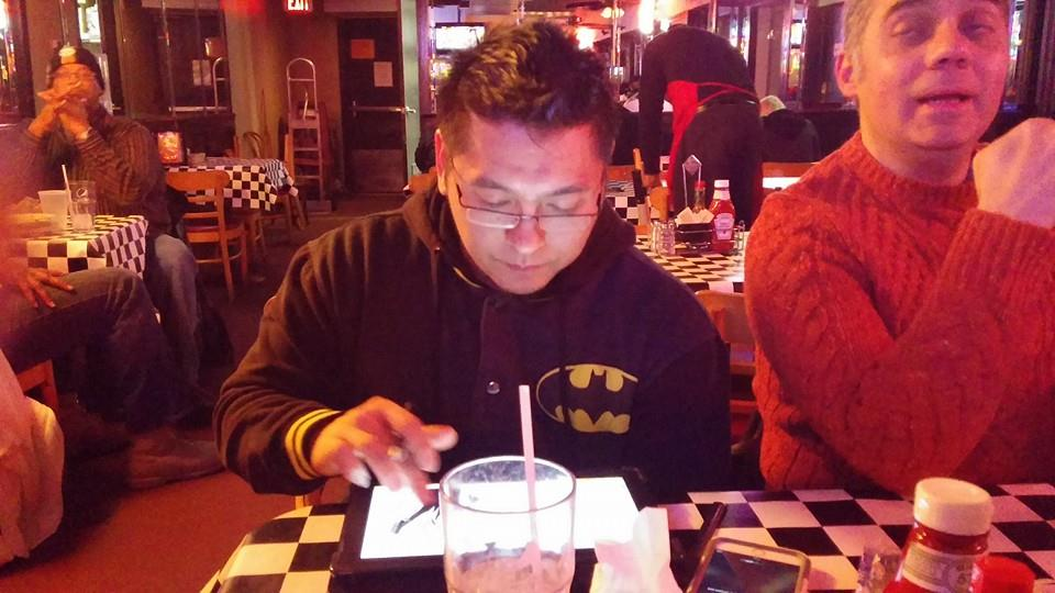 Working over dinner during Wizard World New Orleans....can't do that as easily  traditionally!!
