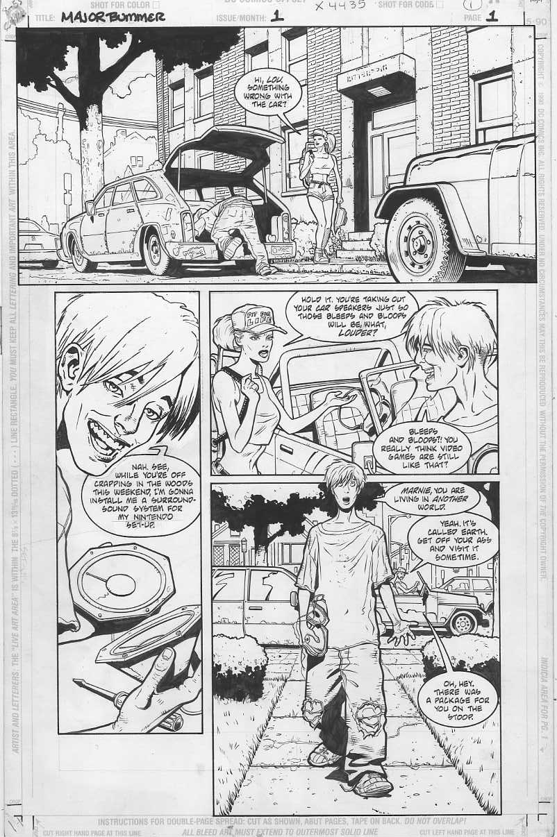 "My very first professional, fully-inked page (right before Christmas 1996).  I had just turned 20 years old. Except for ruled lines with Pigma Micron pens, everything (even the tiny textures, faces, fingernails, etc.) was done with a Winsor Newton Series #7 size 0 brush at the time--simply because I thought ""that's how you're supposed to do it.""  Good mindset for training, really.   In panel 2, Lou's facial expression was swapped with one re-drawn by Doug Mahnke per the editor's request."