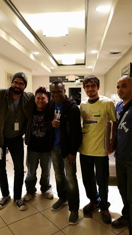 From left to right: filmmaker/animator Esteban Valdez (Echo Bridge Pictures), me, artist Lorezo Lizana, show volunteer Ian Thomas, and artist Kenneth Rocafort