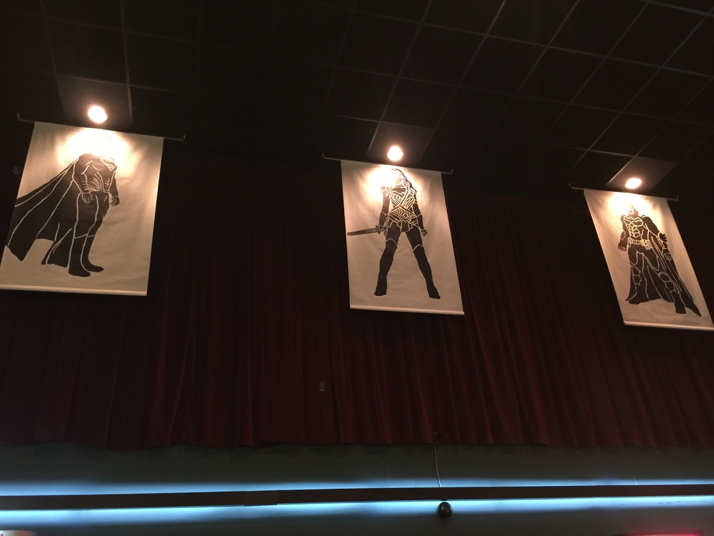 banners hanging up at the movie theater--pretty cool!