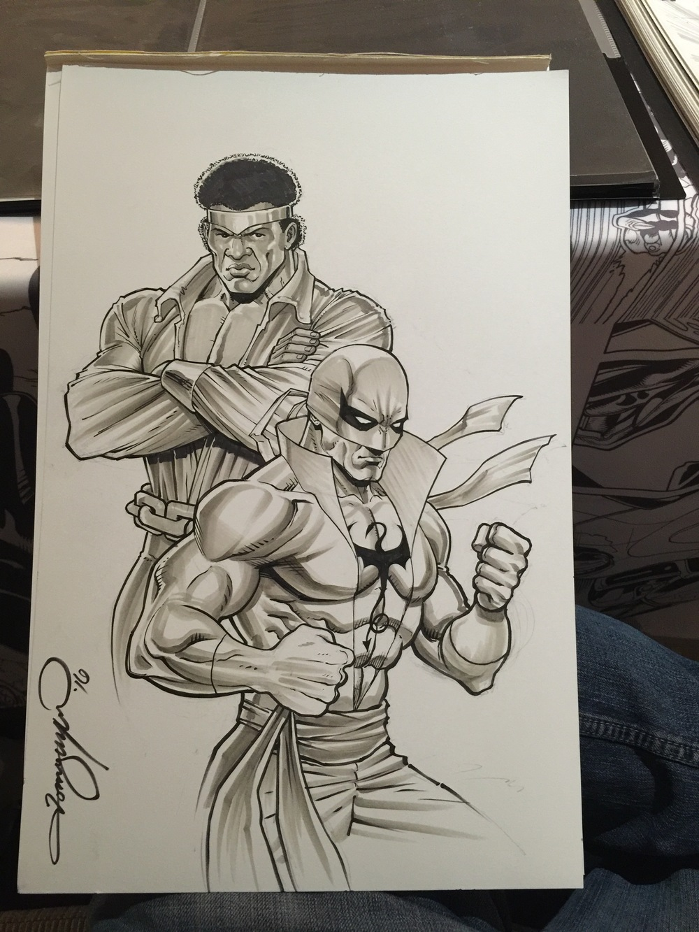 The finished Power Man/Iron Fist sketch