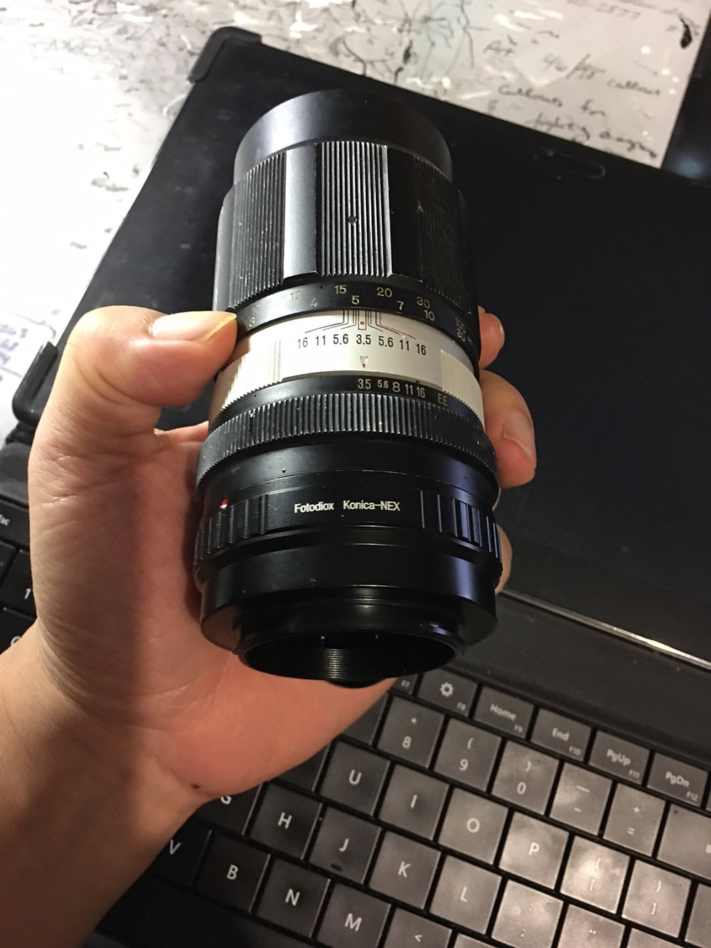 I ordered a Fotodiox Konica --> Sony NEX dummy adapter (again--fully manual focus/aperture lens, so no electronic information is passed) so that I can mount the lens onto my Sony A7Rii.