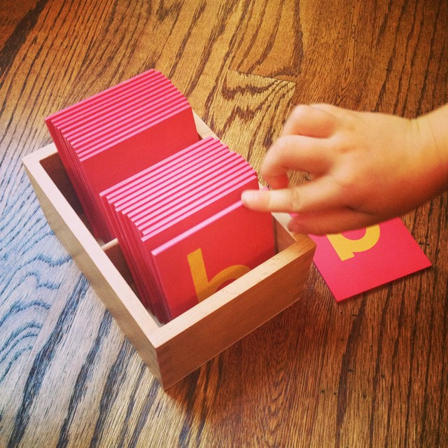 Working on reading skills with my son. #montessori #handsonlearning #education