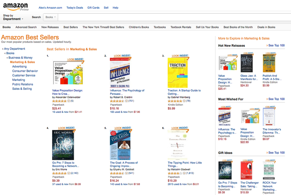 #1 Best seller in the Sales & Marketing category on Amazon.com