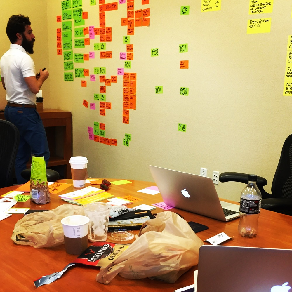 Co-founder Alan Smith designing the offsite exercises with Alex Osterwalder in Boston.