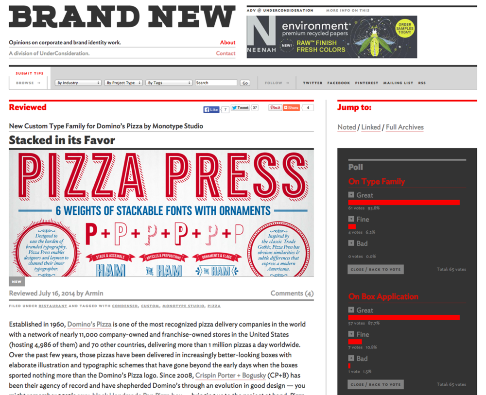 Domino's custom Pizza Press font set on Brand New