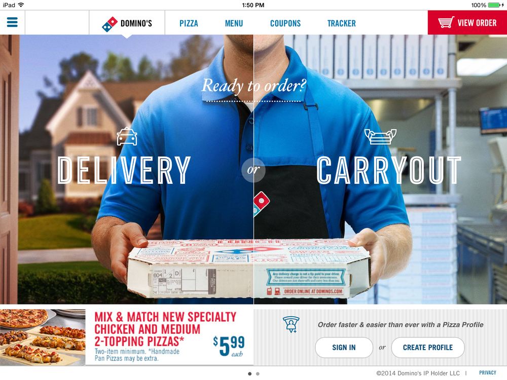 Pizza Press in Domino's iPad app
