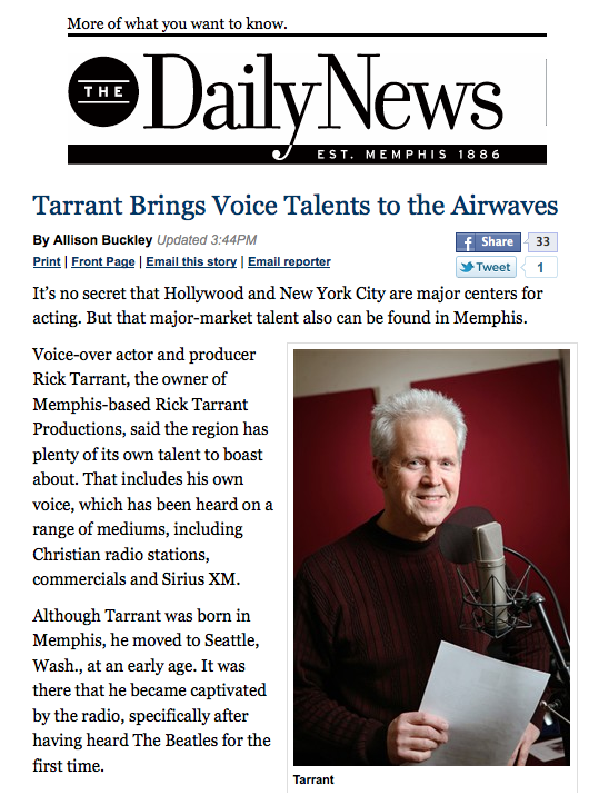 Rick Tarrant feature in Memphis Daily News
