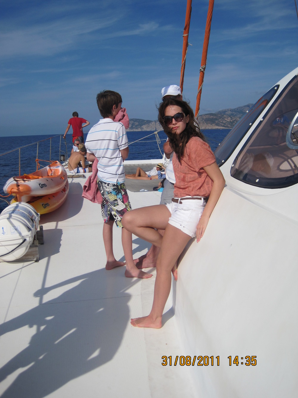 Jess on a boat trip in Corsica August 2011