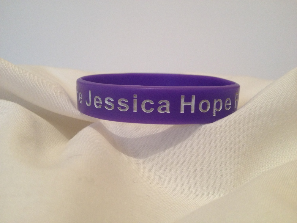 Jess Bands   Purple with the writing The Jessica Hope Foundation   £1.50