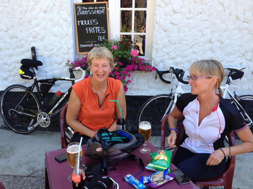 Karen and Bron having a well deserved beer somewhere between Calais and Abbeville
