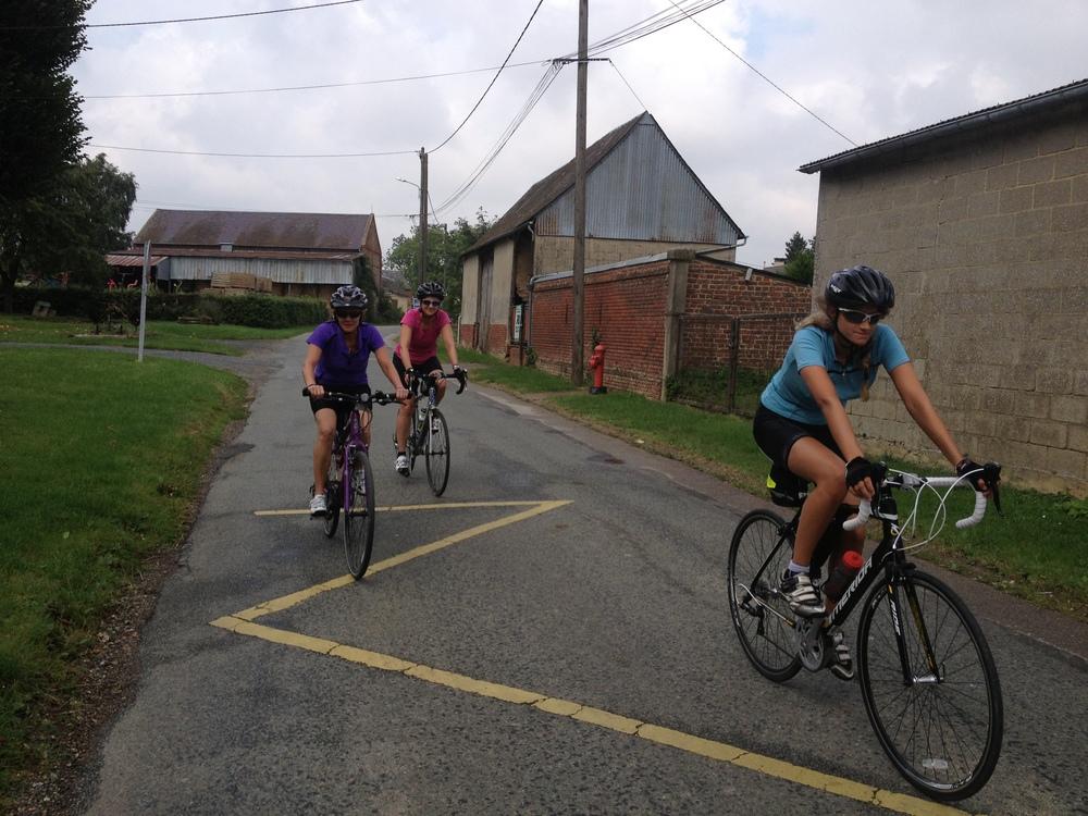 Harriet, Bron and Karen heading towards Beauvais after a downpour!