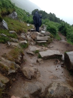 Day 1: Example of the drenched terrain on Ben Nevis Friday 4th July