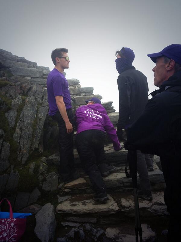 Jess's brothers Sam and Tom with Will on the last steps to the summit..