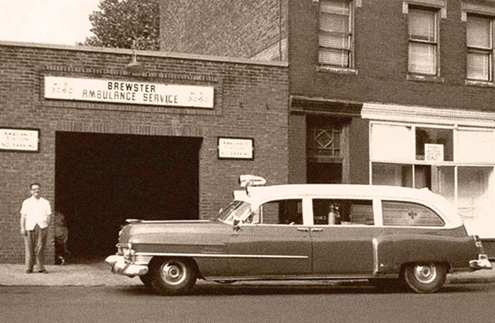 Brewster Ambulance Service Roxbury garage, circa early 1950s.