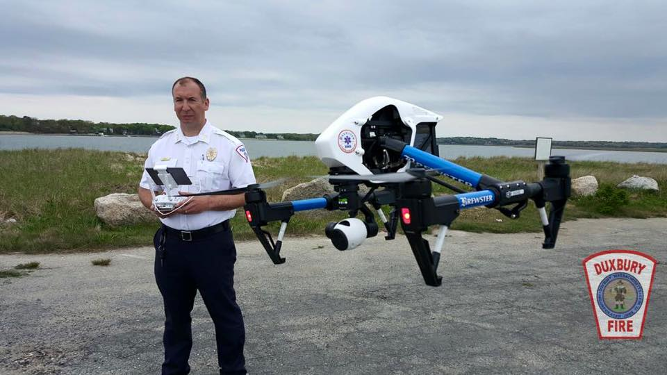 Chris DiBona piloting the DJI Inspire 1 Brewster Ambulance drone. Image Courtesy Duxbury Fire.