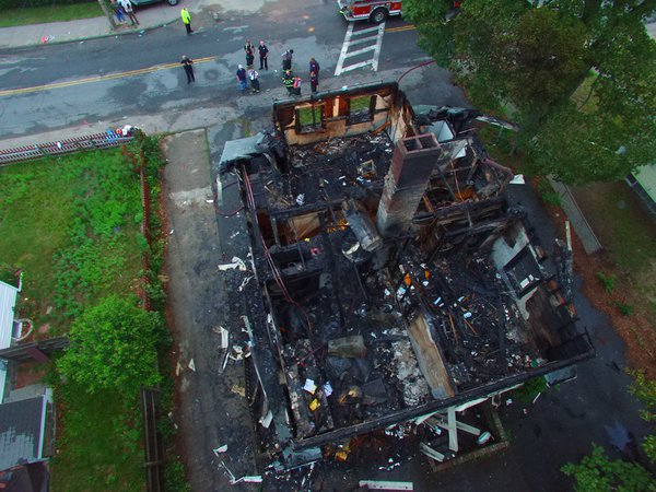 Brewster Ambulance Air 2 drone at Braintree house fire aftermath