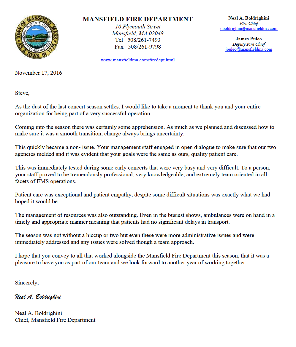 Click image to read the thank you letter from the Mansfield Fire Department