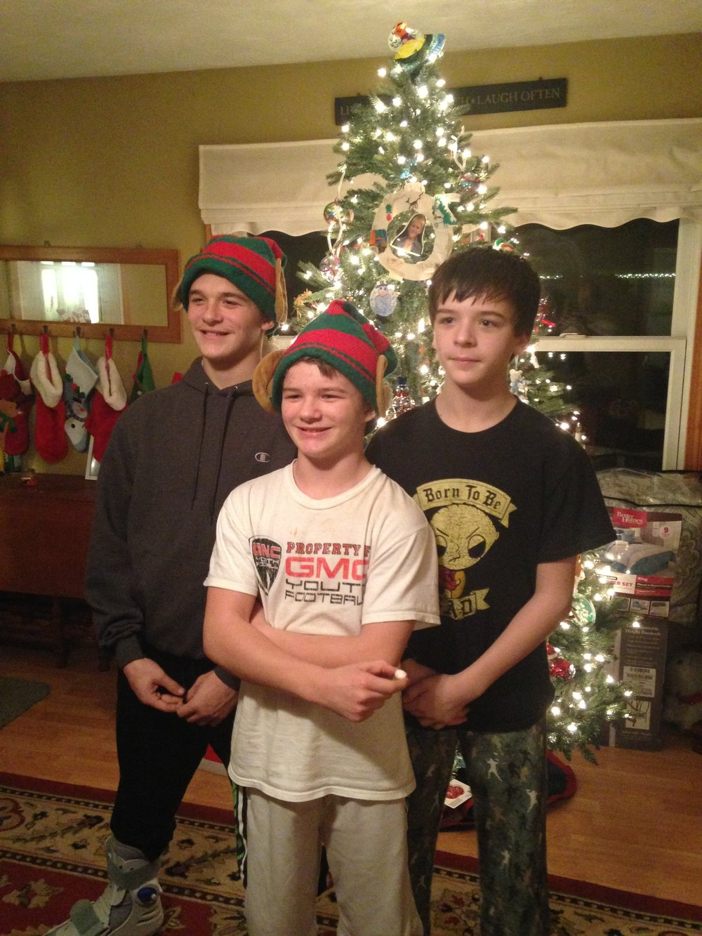 Mike's three sons, Luke (17), Mason (14), and Joseph (15) at Christmas, 2016