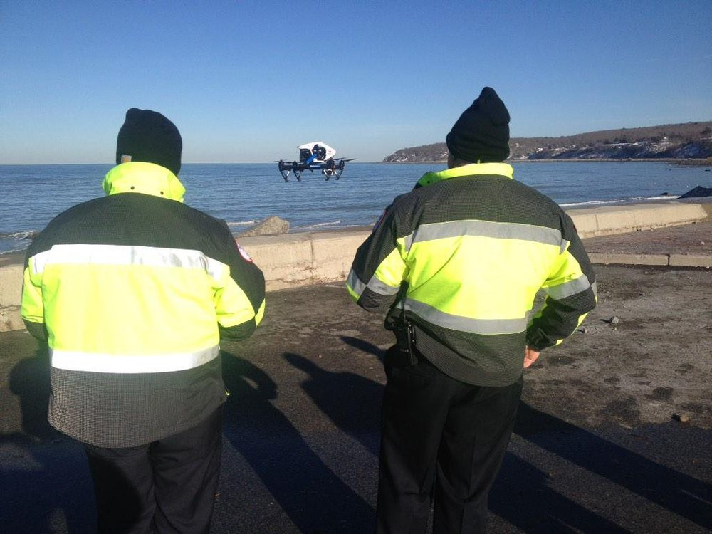 Brewster Ambulance using aerial drone to help firefighters inspect damage at Plymouth Beach (1/2015)