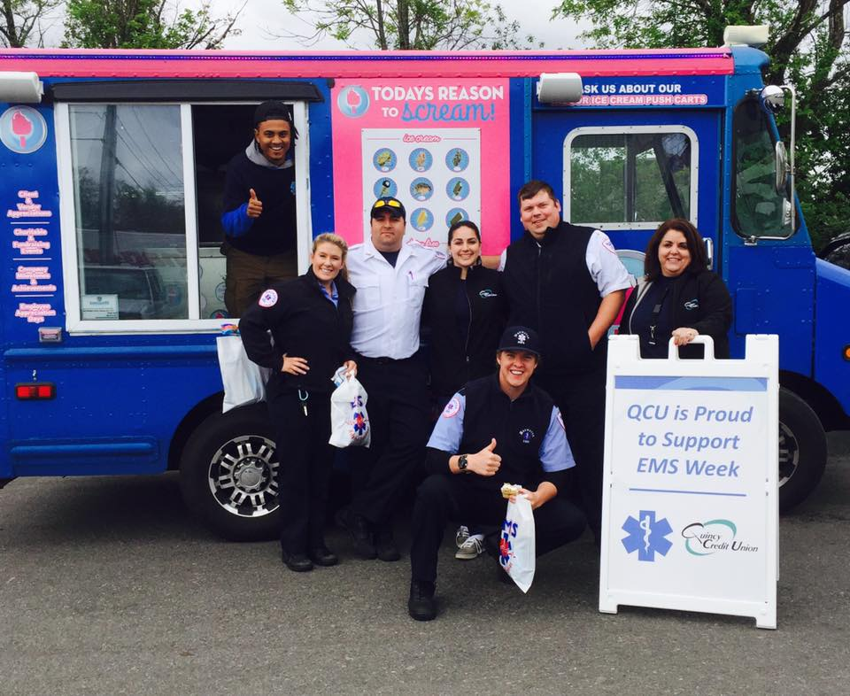Quincy Credit Union providing ice cream and shirts for EMS week