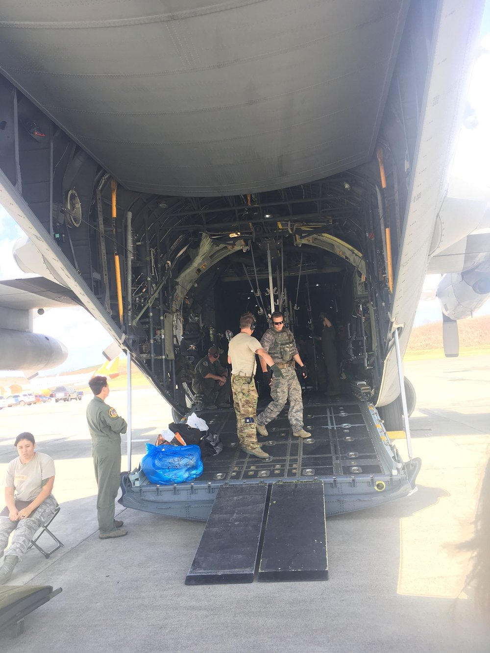 Assisting the US Air Force with medical evacuations in St. Croix following hurricane devastation.