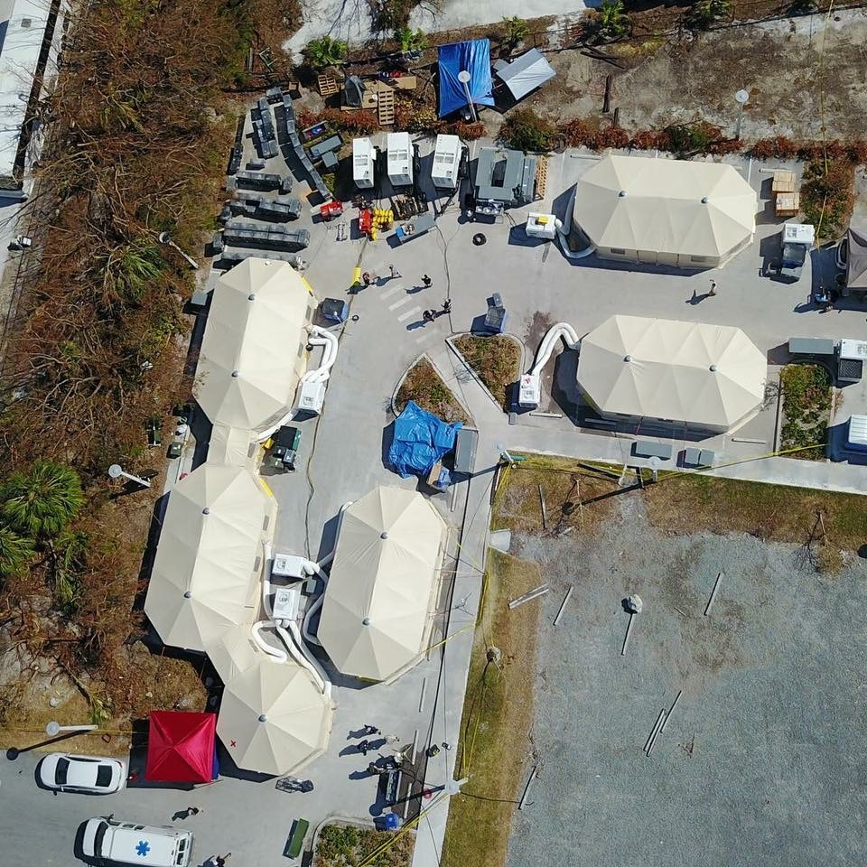 Aerial view of our DMAT (Disaster Medical Assistance Team) field hospital in the Florida Keys, the only hospital for 50 miles in either direction.