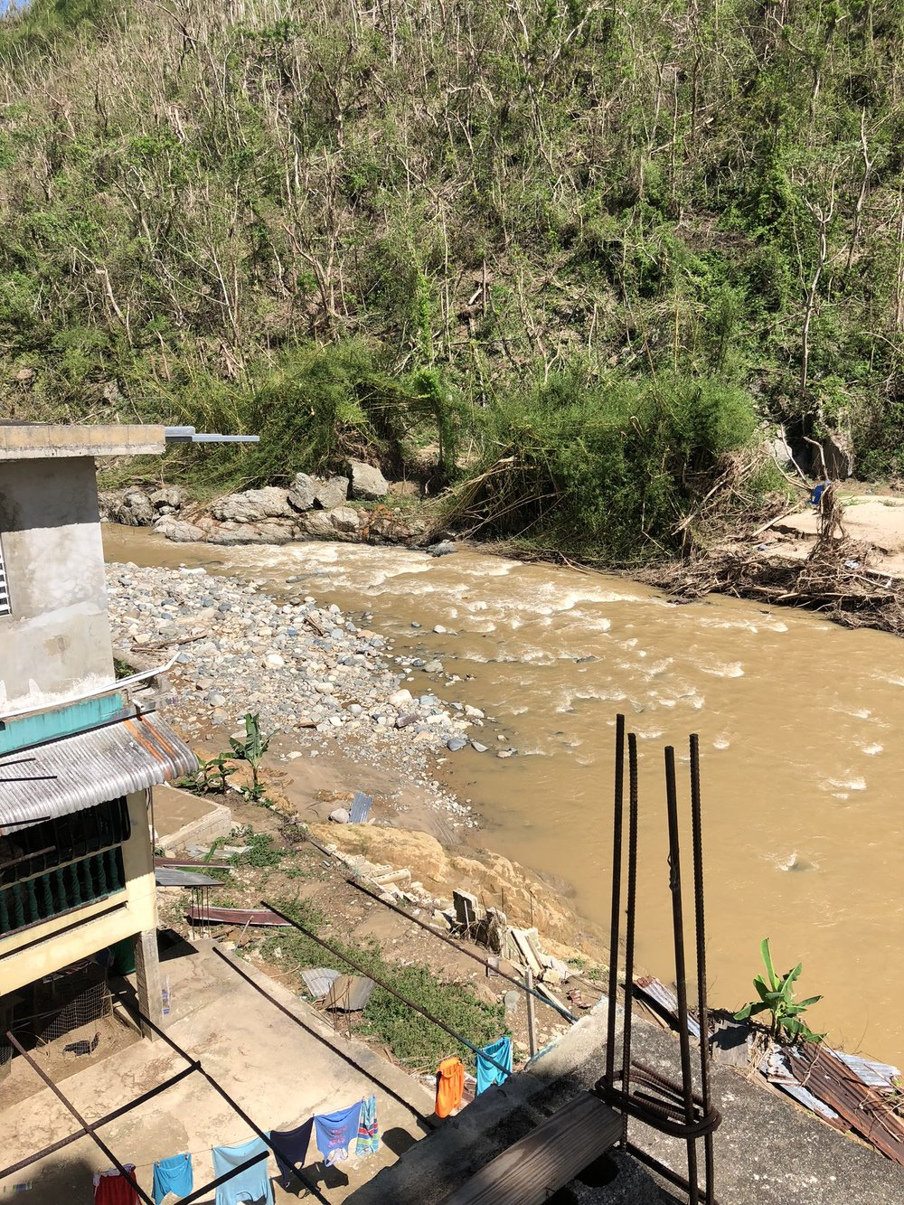 The Vivi River (Rio Vivi) in Utuado, Puerto Rico, after hurricane Maria, washed out a primary bridge that accessed a large portion of the municipality.
