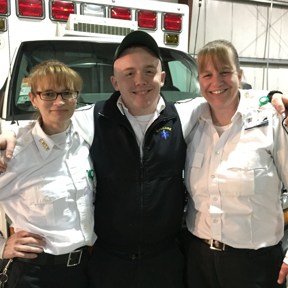 "Patrick ""Chucky"" Benevelli, Paramedic Heather Franklin and EMT Stacey Meade at the station"