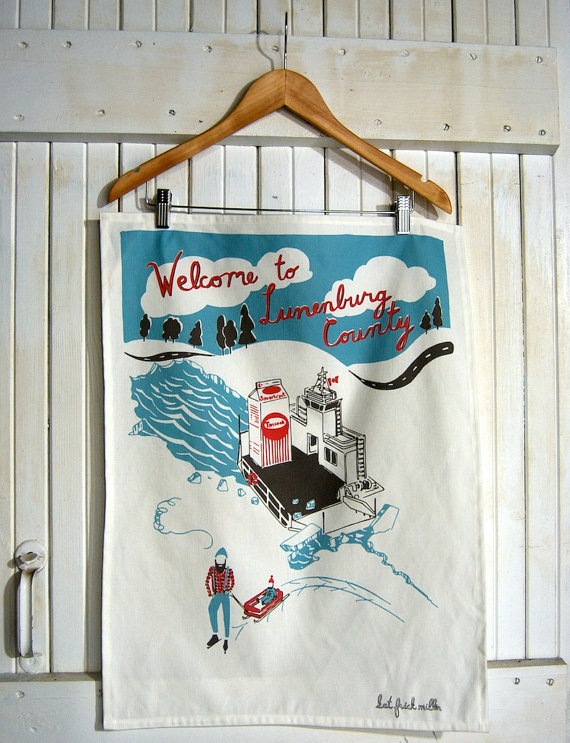 Welcome to Lunenburg Tea Towel by Kat Frick Miller