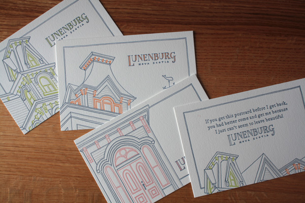 Lunenburg Letterpress Postcards by Betty & Bing