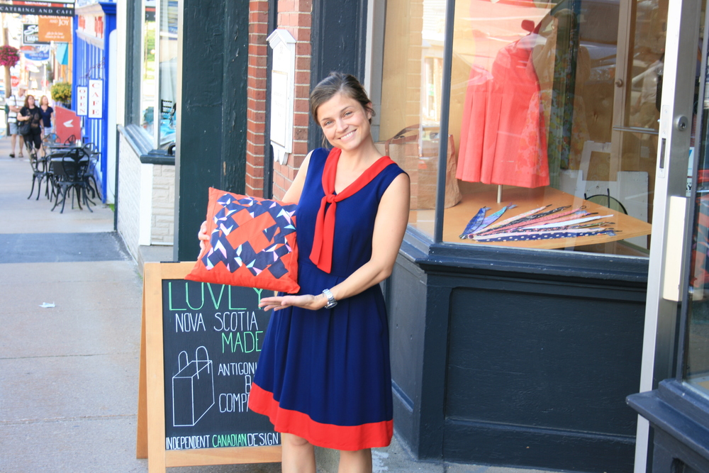 Gatherer Dress by Birds of North America, and pillow cover from The Makery